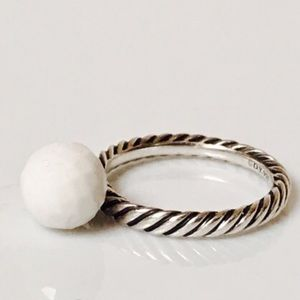 David Yurman White agate cable ring